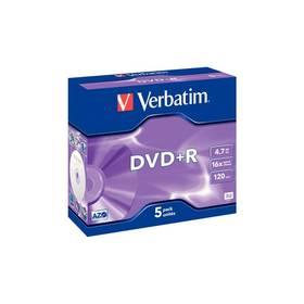 Verbatim DVD+R 4,7GB, 16x,  jewel, 5ks (43497)