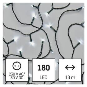 EMOS 180 LED řetěz, 18 m, venkovní i vnitřní, studená bílá, časovač (D4AC04)