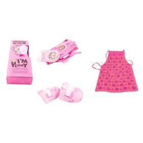 M.A.T. ochranný oděv + sada nářadí pro malé zahradnice růžový