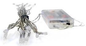 Vánoční osvětlení Solight 20 LED, 2m, řetěz, 3xAA, bílé světlo, průhledný kabel