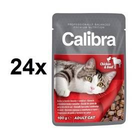 Calibra Cat Adult kapsa kuřecí a hovězí v omáčce 24 x 100 g