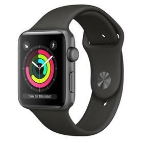 Apple Watch Series 3 GPS 38mm pouzdro z vesmírně šedého hliníku - šedý sportovní řemínek (MR352CN/A)