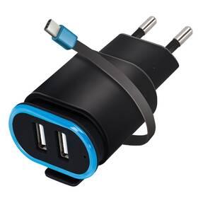 Forever TC-02, 2x USB, USB-C kabel (ATC2USB24AUCKBKTFO) černá