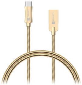 Connect IT Wirez Steel Knight USB-C, 1m, ocelový, opletený (CCA-5010-GD) zlatý