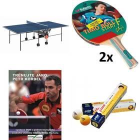 Set stůl Butterfly Korbel Roller se síťkou modrý, vnitřní + 2x pingpongová pálka Butterfly Boll Start FL + pingpongové míčky YOUTH, bílé + naučné DVD Trénuj jako Petr Korbel + Doprava zdarma