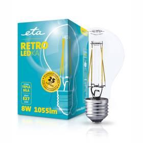 ETA RETRO LEDka klasik, 8W, E27, teplá bílá (ETA789090008) průhledná + Doprava zdarma