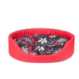 Argi pro psa oválný s polštářem červený se vzorem - 46 x 38 x 13 cm