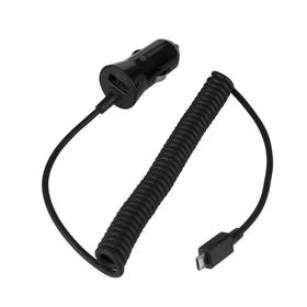 GoGEN CH 24 CC, 1x USB + kroucený microUSB kabel 1,2m (GOGCH24CC) čierna