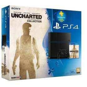Herná konzola Sony PlayStation 4 500GB + hra Uncharted: The Nathan Drake Collection + PS 90 dní PS PLUS (PS719852247) čierna