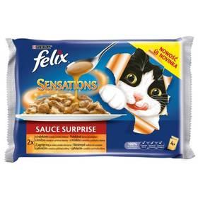 Felix Sensations Sauce Surprise s krůtou ve slaninové omáčce a jehněčí se zvěřinou (4x100g)