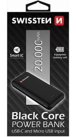 Swissten Black Core Slim 20000mAh, USB-C (22013928) černá (vrácené zboží 8800363311)