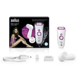 Braun Silk-épil 7 SE7-539 + čistíci obličejový kartáček bílé Dárkový balíček Gillette Proglide Silver (strojek, náhradní hlavice, gel na holení) (zdarma) + Doprava zdarma