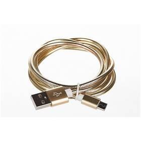 CellFish USB/micro USB, kovový, 1m (CELLKOVGOLD) zlatý