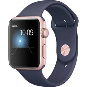 Apple Watch Series 1 42mm pouzdro z růžově zlatého hliníku – půlnočně modrý sportovní řemínek (MNNM2CN/A) + Doprava zdarma