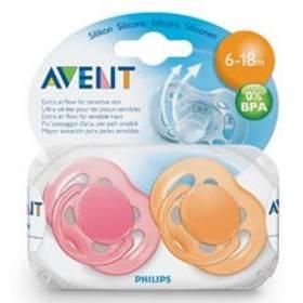 Cumľom AVENT SENSITIVE 6-18m. bez BPA, 2ks ružové/oranžové