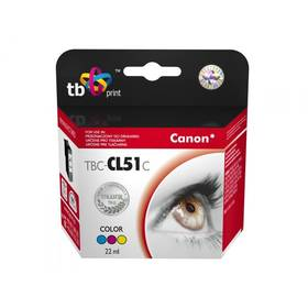 TB Canon CL-51 Color - kompatibilní (TBC-CL51C) červená/modrá/žlutá (Náhradní obal / Silně deformovaný obal 5800104865)