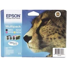 Epson T0715, 3x 6ml, 1x 7ml - originální (C13T07154010) černá/červená/modrá/žlutá (Náhradní obal / Silně deformovaný obal 2100016527)