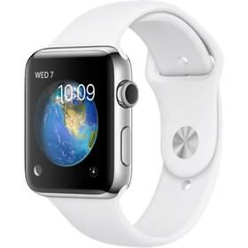 Apple Watch Series 2 42mm pouzdro z nerezové oceli – bílý sportovní řemínek (MNPR2CN/A) + Doprava zdarma