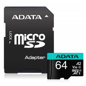 ADATA Premier Pro MicroSDXC 64GB (100R/80W) + adaptér (AUSDX64GUI3V30SA2-RA1)