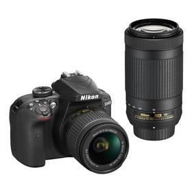 Nikon D3400 + AF-P 18-55 VR + 70-300 VR + 4x čištění čipu zdarma (VBA490K005) černý + Doprava zdarma