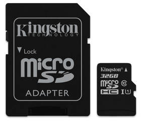 Kingston MicroSDHC 32GB UHS-I U1 (45R/10W) + adapter (SDC10G2/32GB)