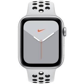 Apple Watch Nike Series 5 GPS 44mm pouzdro ze stříbrného hliníku - platinový/černý sportovní řemínek Nike SK (MX3V2VR/A)