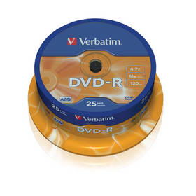 Verbatim DVD-R 4,7GB, 16x, 25-cake (43522)