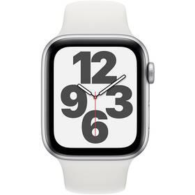Apple Watch SE GPS 44mm pouzdro ze stříbrného hliníku - bílý sportovní náramek (MYDQ2HC/A)