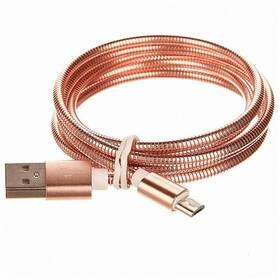 CellFish USB/micro USB, kovový, 1m (CELLKOVPINK) ružový
