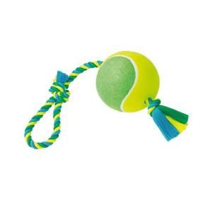 Hračka Nobby Rope Toy XXL tenisák 15cm s lanem modré/žlté/zelené