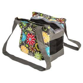 Transportná taška Samohýl Polly s květy 40cm sivá