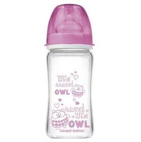 Canpol babies EasyStart PURE glass 240 ml růžová