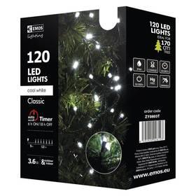 EMOS 120 LED, 12m, řetěz, studená bílá, časovač, i venkovní použití (1534080035) + Doprava zdarma