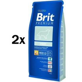 Granule Brit Premium Dog Light 2 x 15 kg + Doprava zdarma