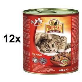 Propesko kousky kočka hovězí a játra v želé 12 x 830g