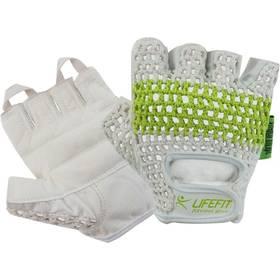 Fitness rukavice LIFEFIT Fit, vel. M biele/zelené