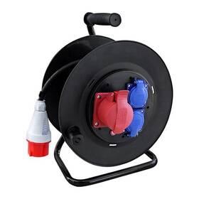 Solight 3 zásuvky, 400V + 230V, 25m gumový kabel 3x1,5mm2, IP44 (PB40) černý