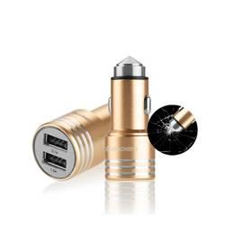 GoGEN kovový bezpečnostní hrot, 2x USB (CHH25G) zlatý + Doprava zdarma