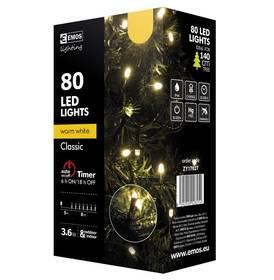 EMOS 80 LED, 8m, řetěz, teplá bílá, časovač, i venkovní použití (1534170025)