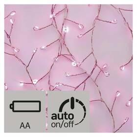 EMOS 100 LED, nano řetěz – ježek, 2,4m, růžová, časovač (1534204800)