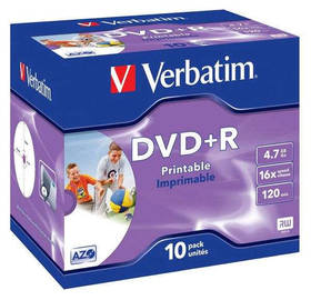 Verbatim DVD+R 4,7GB, 16x, printable, jewel box, 10ks (43508)