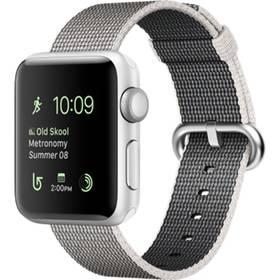 Apple Watch Series 2 38mm Pouzdro ze stříbrného hliníku – perlově šedý řemínek z tkaného nylonu (MNNX2CN/A) + Doprava zdarma
