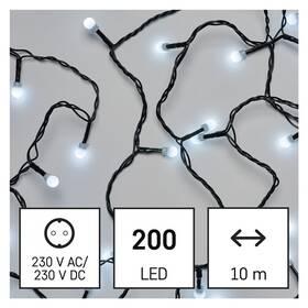 EMOS 200 LED cherry řetěz - kuličky, 10 m, vnitřní, studená bílá (D5GC03)