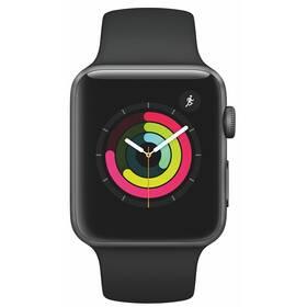 Apple Watch Series 3 GPS 42mm pouzdro z vesmírně šedého hliníku - černý sportovní řemínek (MTF32CN/A)
