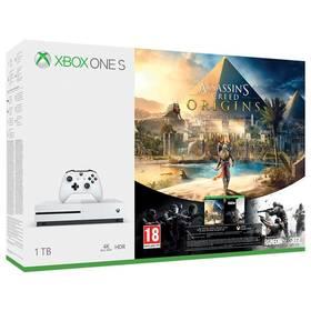 Microsoft Xbox One S 1 TB + Assassin's Creed: Origins + Rainbow Six: Siege; 14 denní Xbox LIVE GOLD 1 měsíční Xbox Game Pass (234-00235)