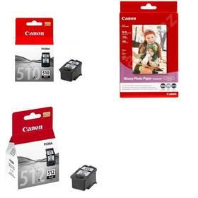 Canon černá PG510 + černá PG512 pro MP240/MP260 + papír GP 501,  fotopapír 10x15 cm, 100 listů černý