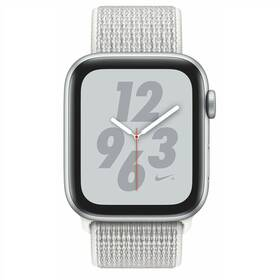 Apple Watch Nike+ Series 4 GPS 44mm pouzdro ze stříbrného hliníku - sněhově bílý provlékací sportovní řemínek Nike SK verze (MU7H2VR/A)