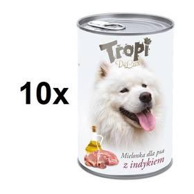Tropi De Lux Dog kousky v konzervě s příchutí krocana 10 x 400 g