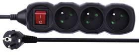EMOS 3x zásuvka, 1,5m, vypínač (1902330150) černý