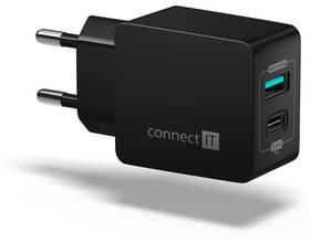 Connect IT Fast Charge 1x USB + 1x USB-C, 3,4A s funkcí rychlonabíjení (CWC-2030-BK) černá
